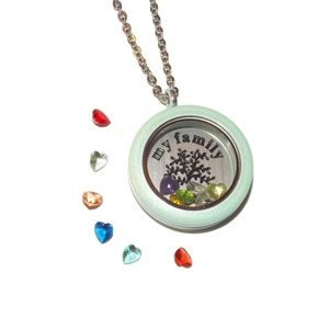 Jewelry - Seafoam Color Floating Locket with 12 Birthstones